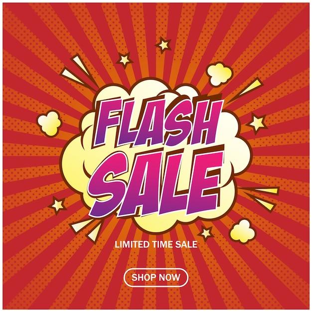 Modelo de plano de fundo de banner de venda on-line loja flash Vetor Premium