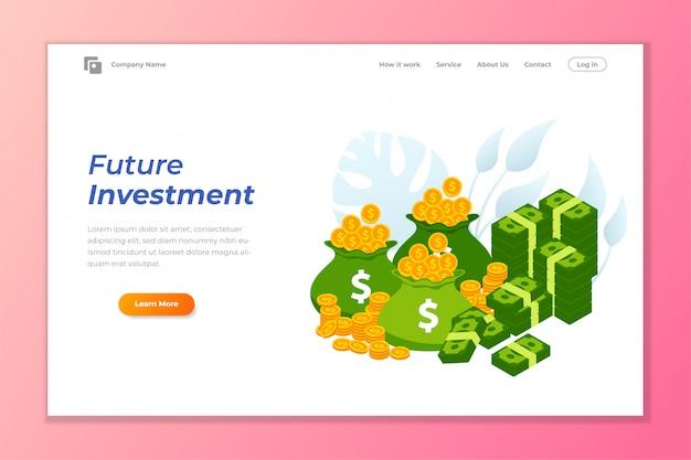 Modelo de plano de fundo de banner de web de investimento Vetor Premium