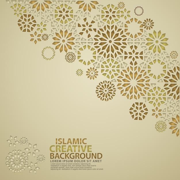 Modelo de plano de fundo de cartão de design islâmico com ornamentais coloridos de mosaico Vetor Premium