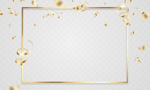 Modelo de plano de fundo de celebração com fitas de confete de ouro Vetor Premium