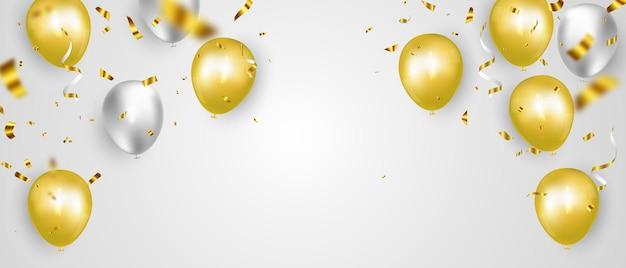 Modelo de plano de fundo de celebração com fitas de confete ouro. Vetor Premium