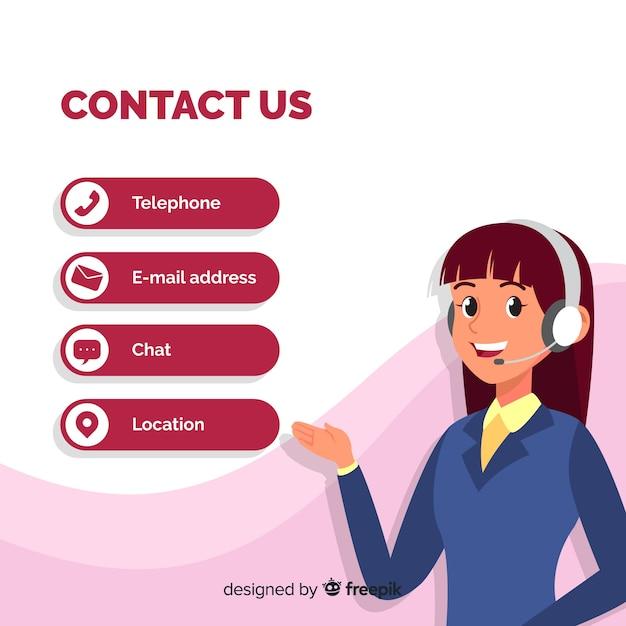 Modelo de plano de fundo de informações de contato de mão desenhada Vetor Premium