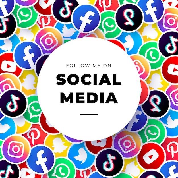 Modelo de plano de fundo de logotipos de mídia social Vetor grátis