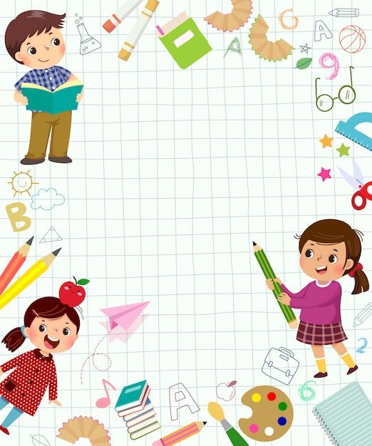 Modelo de plano de fundo de publicidade no conceito de aprendizagem com três alunos. voltar para os banners da escola. Vetor Premium