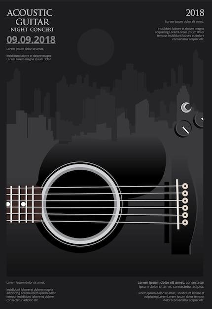 Modelo de plano de fundo do cartaz de concerto de guitarra Vetor Premium