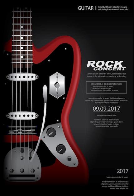 Modelo de plano de fundo do cartaz de concerto de rock Vetor Premium