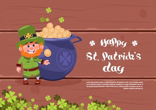 Modelo de plano de fundo do dia feliz st. patricks holiday ou cartão leprechaun homem sobre o grande pote com moedas de ouro Vetor Premium
