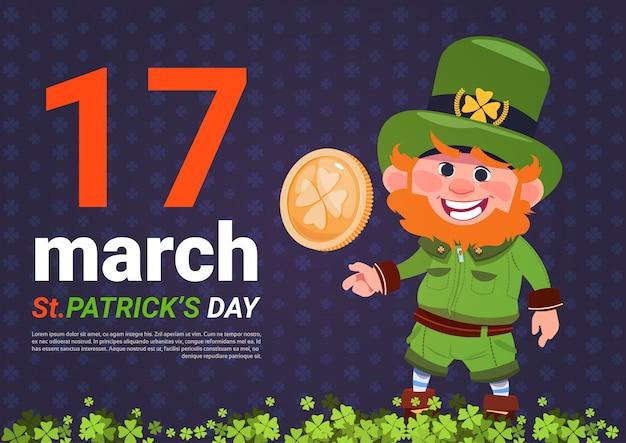Modelo de plano de fundo do leprechaun homem segurando ouro moeda st patricks day card Vetor Premium