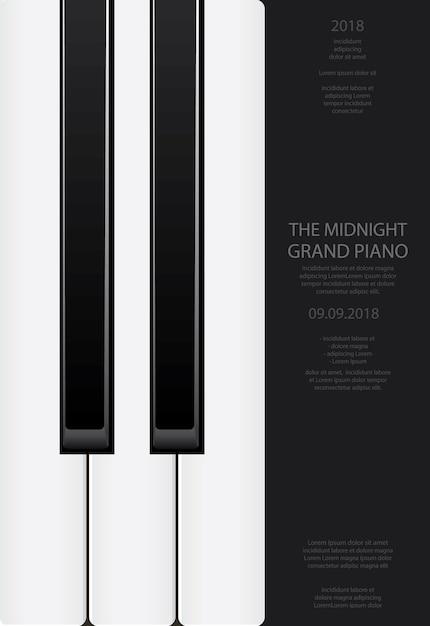 Modelo de plano de fundo do piano de cauda de música modelo ilustração vetorial Vetor Premium