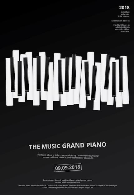 Modelo de plano de fundo do piano de cauda de música modelo vector Vetor Premium
