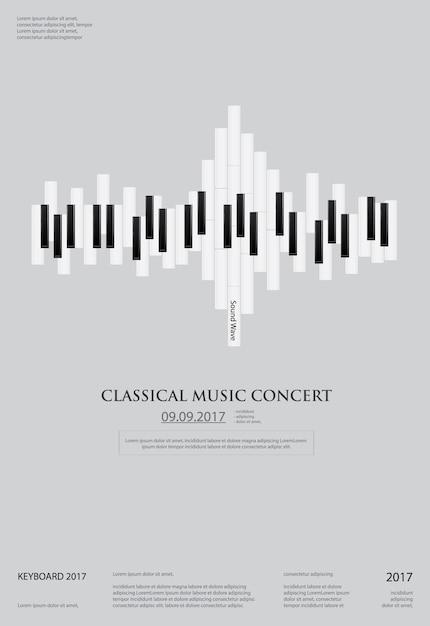 Modelo de plano de fundo do piano de cauda de música Vetor Premium