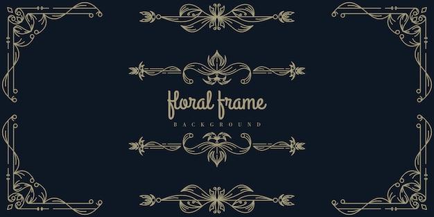 Modelo de plano de fundo do quadro floral ouro premium Vetor Premium