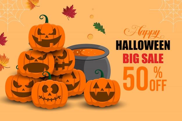 Modelo de plano de fundo feliz banner grande venda halloween Vetor Premium