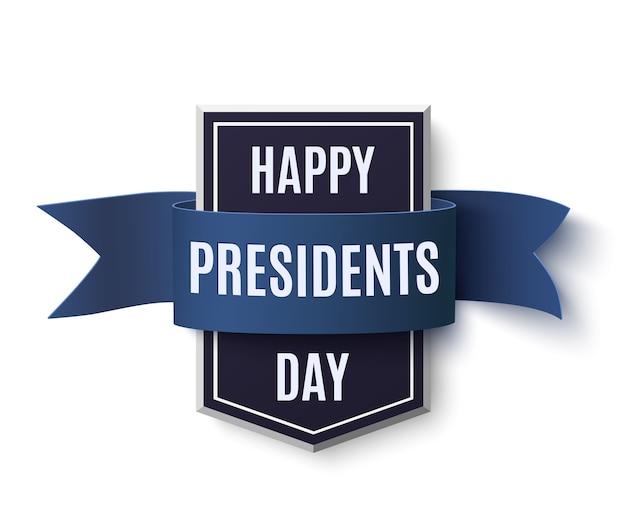 Modelo de plano de fundo feliz dia dos presidentes. crachá com fita azul isolada no fundo branco. Vetor Premium