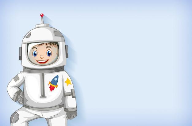 Modelo de plano de fundo liso com astronauta feliz sorrindo Vetor grátis