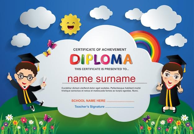 Modelo de plano de fundo pré-escolar crianças diploma certificado Vetor Premium