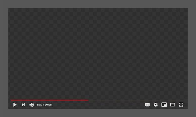 Modelo de player de vídeo da web do youtube Vetor Premium