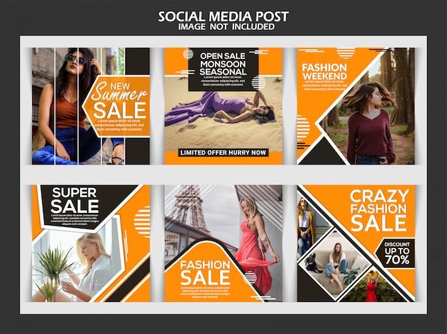 Modelo de post de instagram moda criativa Vetor Premium