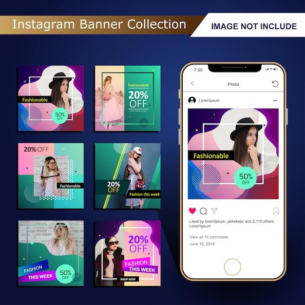 Modelo de post de mídia social moda colorida Vetor Premium