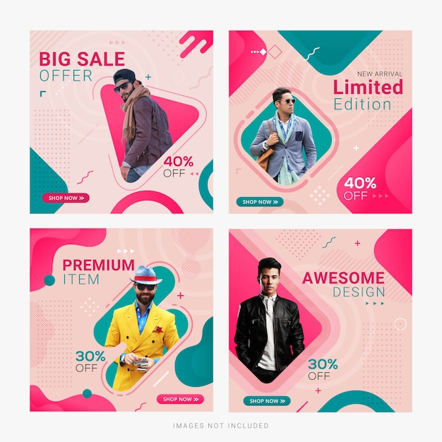 Modelo de postagem de anúncio de banner de mídia social de venda de moda Vetor Premium