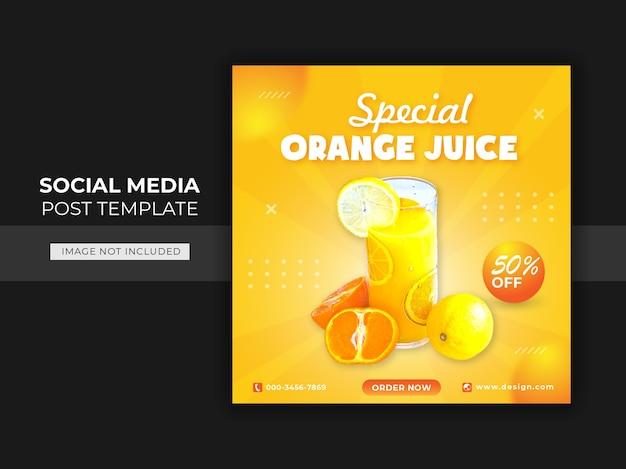 Modelo de postagem de banner em mídia social para bebidas de laranja Vetor Premium