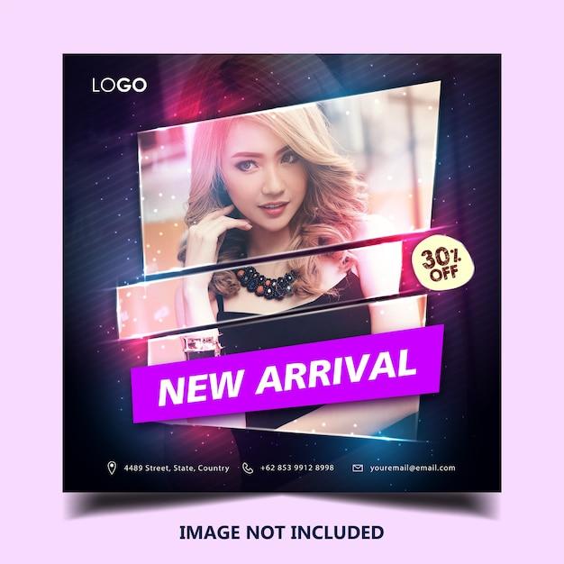 Modelo de postagem de banner instagram de moda Vetor Premium