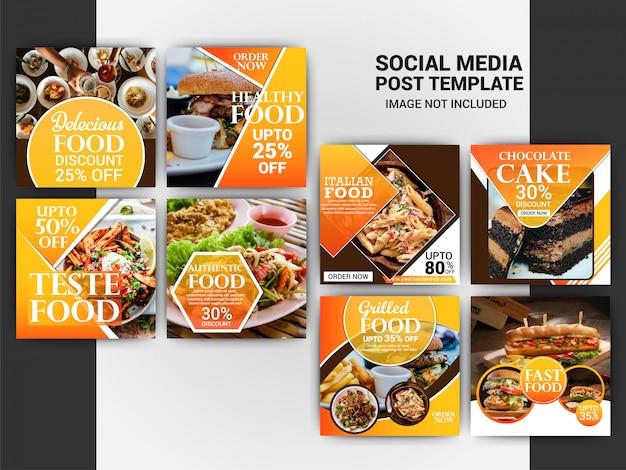 Modelo de postagem de comida no instagram Vetor Premium