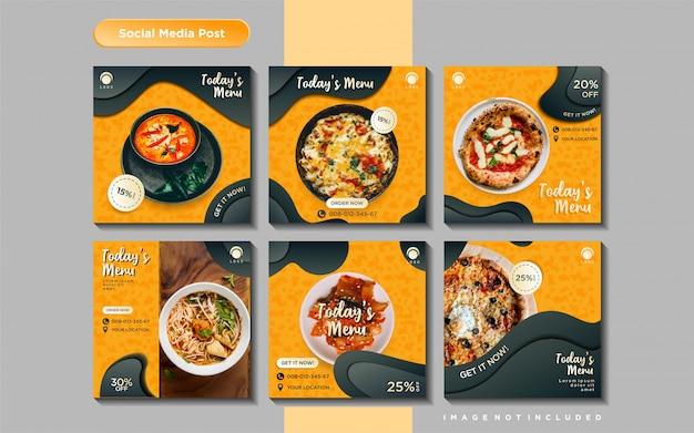 Modelo de postagem de feed de mídia social culinária Vetor Premium