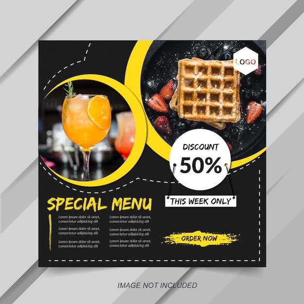 Modelo de postagem de instagram de alimentos e culinária Vetor Premium