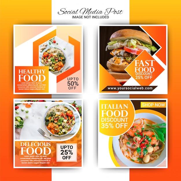 Modelo de postagem de instagram de comida Vetor Premium