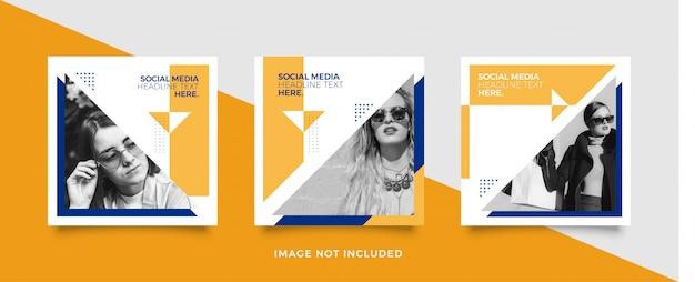 Modelo de postagem de mídia social amarela e azul Vetor Premium