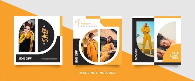 Modelo de postagem de mídia social amarela minimalista Vetor Premium
