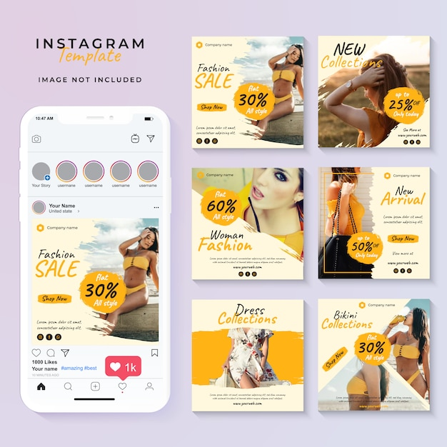 Modelo de postagem de mídia social amarela Vetor Premium
