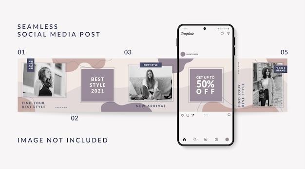 Modelo de postagem de mídia social carrossel promoção de venda de moda Vetor Premium