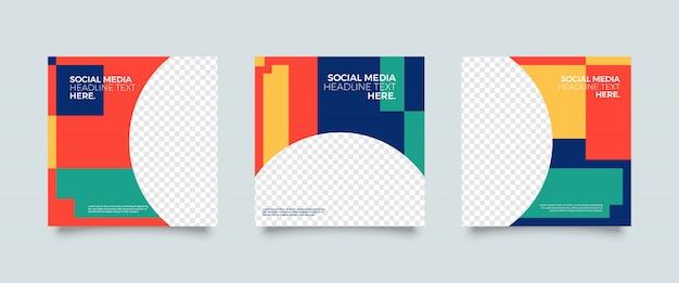 Modelo de postagem de mídia social colorida Vetor Premium