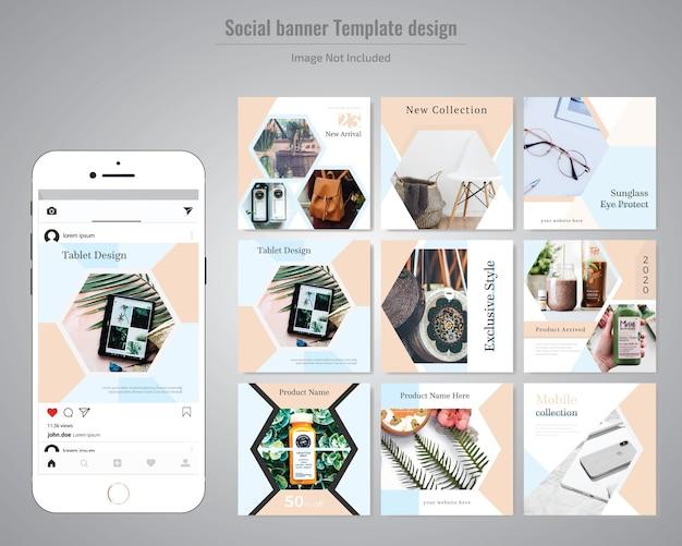 Modelo de postagem de mídia social com desconto de produto criativo Vetor Premium