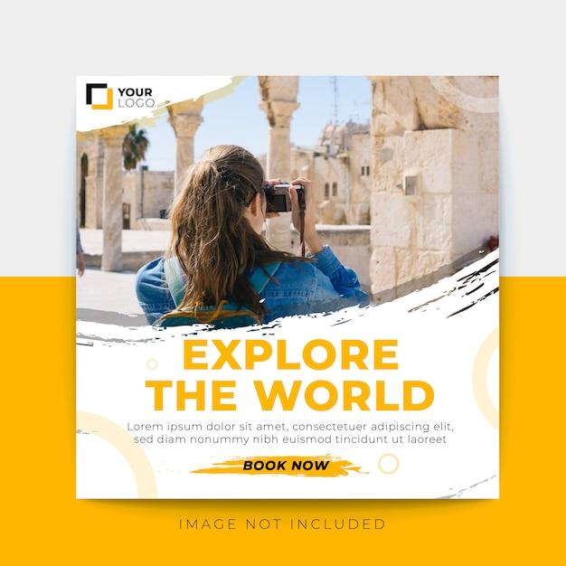 Modelo de postagem de mídia social de banner de viagem Vetor Premium