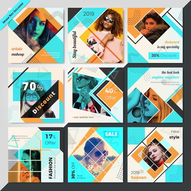 Modelo de postagem de mídia social de moda para marketing Vetor Premium