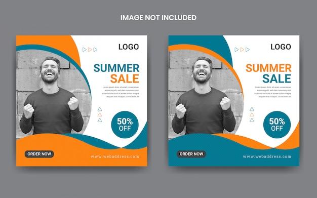 Modelo de postagem de mídia social de venda verão Vetor Premium