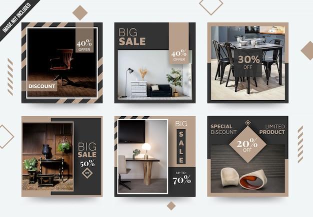 Modelo de postagem de mídia social elegante mobília Vetor Premium