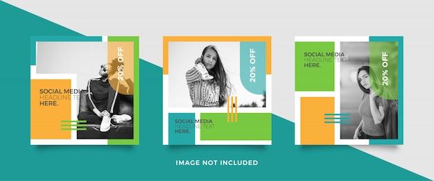 Modelo de postagem de mídia social moderna Vetor Premium