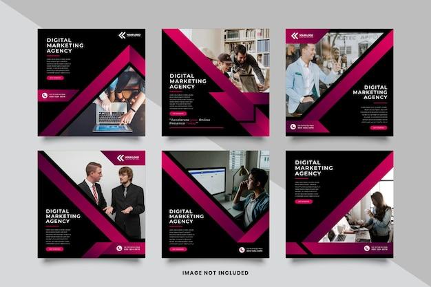 Modelo de postagem de mídia social para agência de marketing Vetor Premium