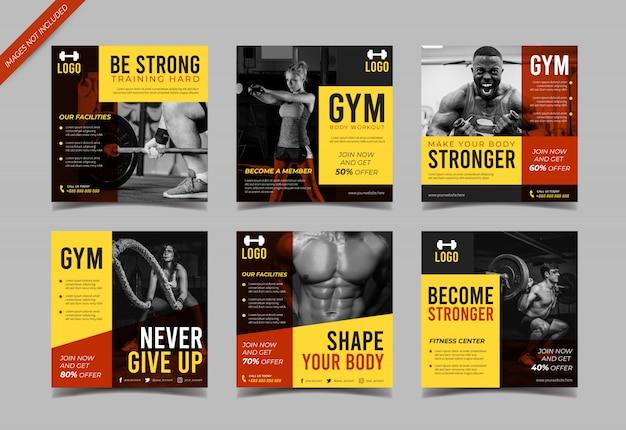 Modelo de postagem de mídias sociais de fitness Vetor Premium