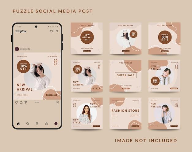 Modelo de postagem de quebra-cabeça em mídia social Vetor Premium