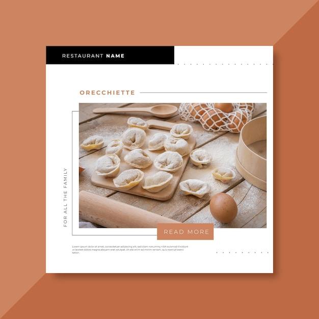 Modelo de postagem de restaurante de comida no facebook Vetor Premium