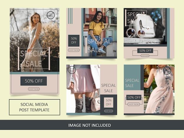 Modelo de postagem de venda de moda do instagram Vetor Premium