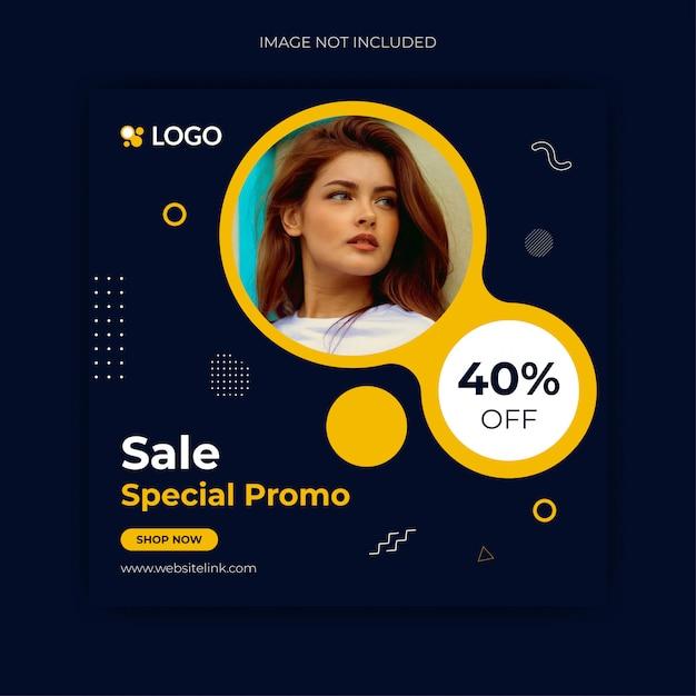 Modelo de postagem do instagram de mídia social de venda Vetor Premium