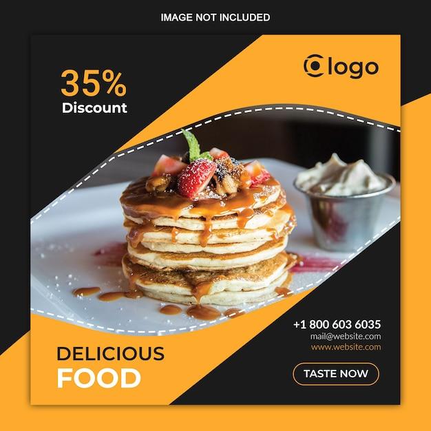 Modelo de postagem do instagram de mídias sociais de alimentos Vetor Premium