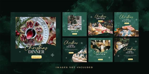 Modelo de postagem do instagram do jantar de comida de natal para publicidade em mídia social Vetor Premium