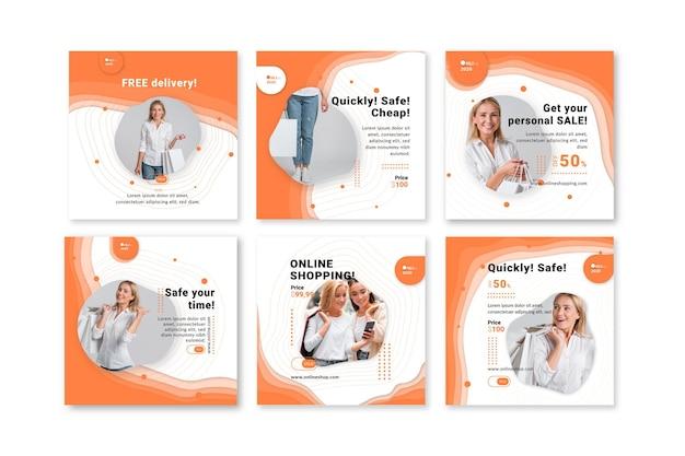 Modelo de postagem do instagram do serviço de compras online Vetor Premium